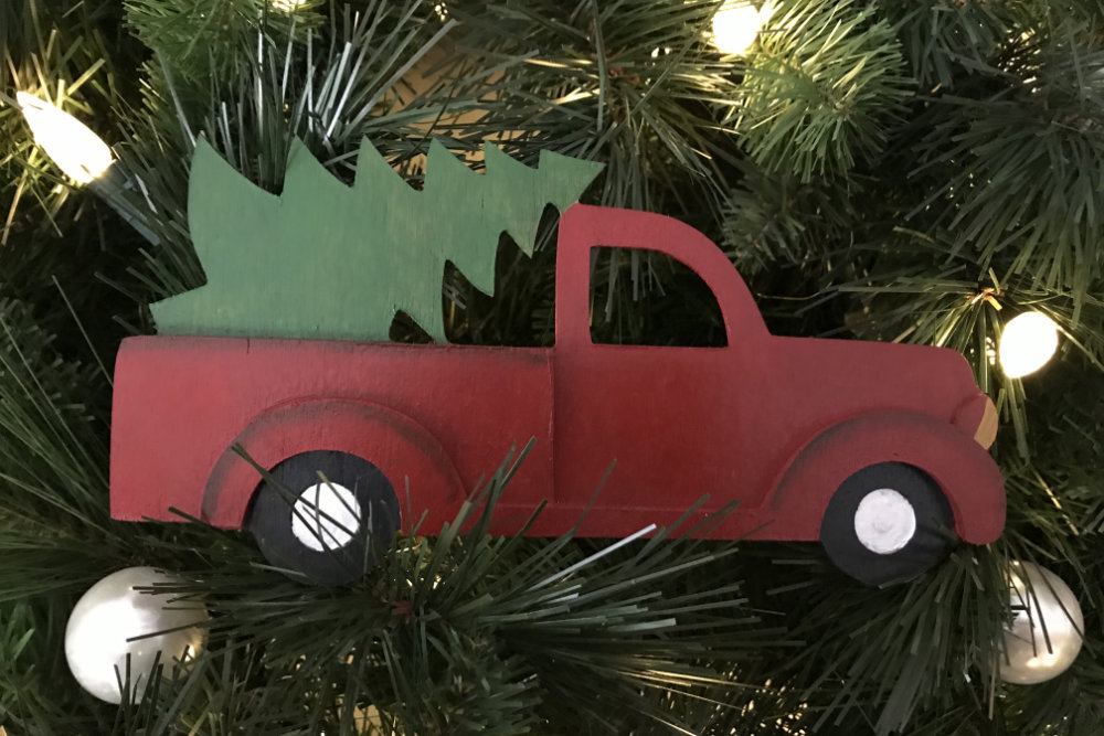 Vintage Red Truck With Christmas Tree Downeast Thunder Farm