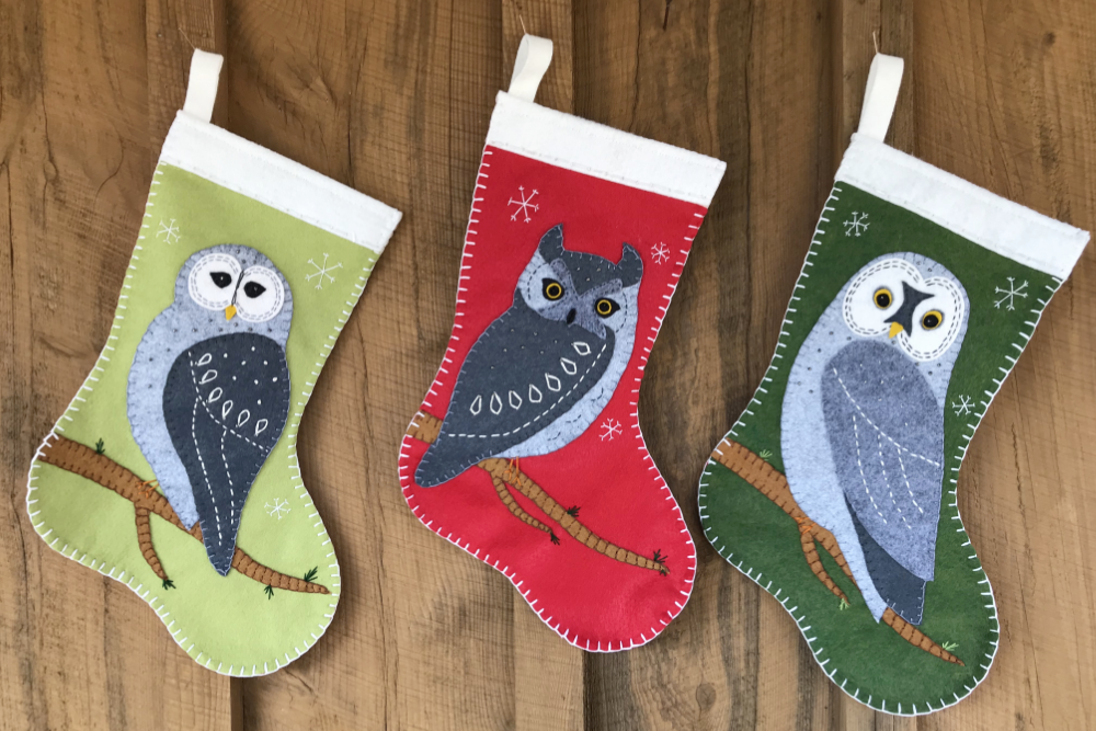 Owl Christmas Stockings Downeast Thunder Farm